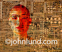 A woman's face is seen behind computer circuitry in an image about immersion in technology, hackers, cyber crime and future tech.