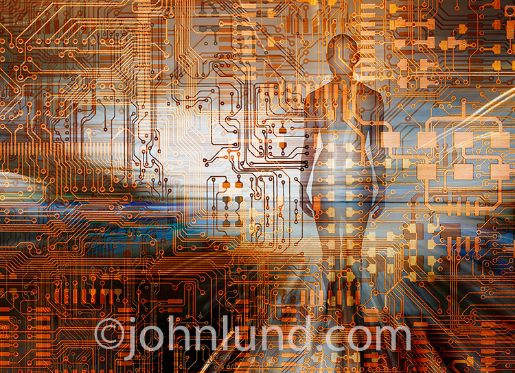 This image of a woman in a network is a metaphor for hackers and cyber criminals that threaten networks, cloud computing, and online connections.