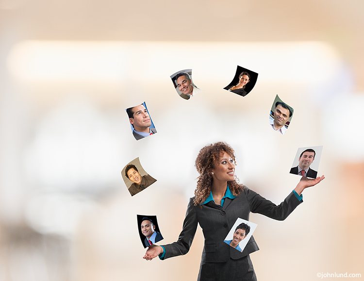 Social media management, networking and business contacts are some of the messages in this photo of a woman in business attire juggling a series of portraits.