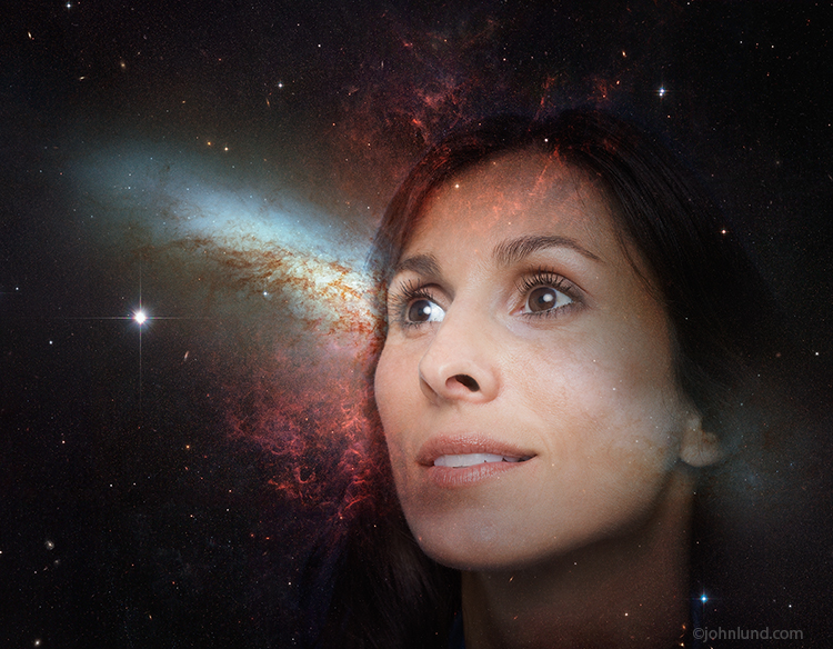 A woman's face is seen through a starfield in an image about exploration posibiliites the future and mystery.