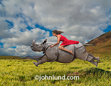 A woman in a red dress rides a charging rhino in this stock photo about strong women, power, speed, momentum and even color (as the image contains the intense primary colors of red, blue and green).