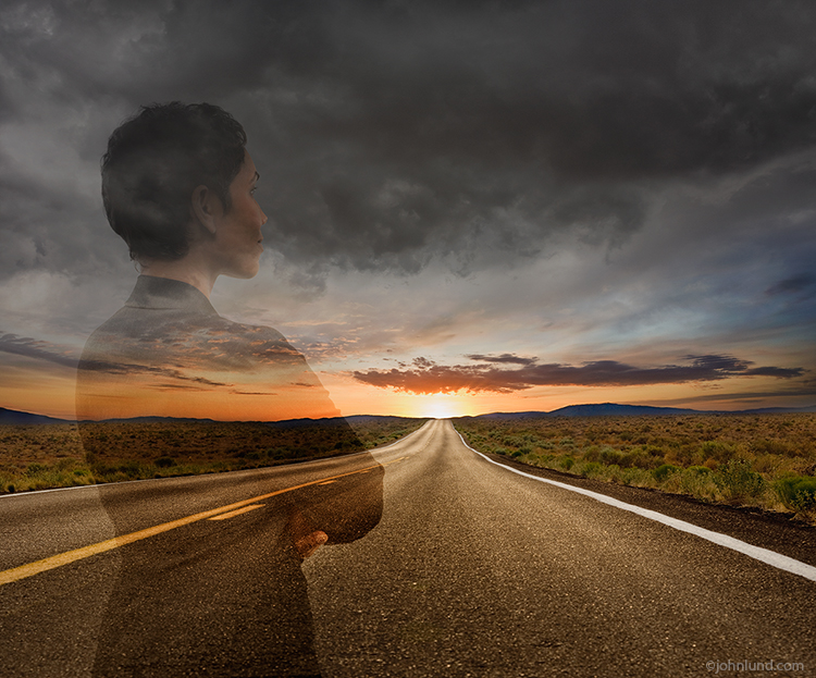 A woman business executive is superimposed over a long road and looking ahead a clearing skies and an a sunrise indicating better times and success ahead.