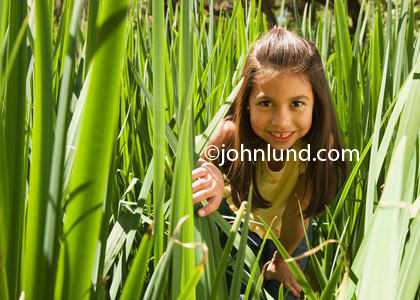 Cute adorable young hispanic or mexican girl is hiding in grass taller than she is. The young pre-teen with long brown hair is smiling at the camera and pushing some blades out of the way with her hand.  Pictures of kids playing hid and seek.
