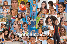 A snapshot photo of yourth in a montage portrait composed from over seventy individual portraits of teens, tweens, and even toddlers.