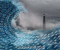 Big data management is the primary concept behind this stock photo that shows a lighthouse beyond a storm tossed sea of binary numbers. The lighthouse offers navigational help in an ocean of data in the information age.