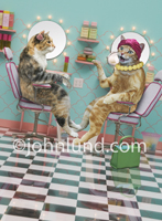 Two cats sit in a hair salon or beauty parlor and gossip in this funny cat picture.