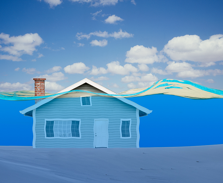 In this photo of a house underwater the message can range from mortgage lending issues to flood concerns.