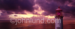 Panorama photo of Kilauea Lighthouse at sunset on the Island of Kuai, Hawaii - Beautiful photos of lighthouses.