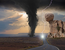 A bolt of lightning strikes a road while a tornado roars along side, and a huge bolder balances precariously above, in a funny road picture about adversity and obstacles.