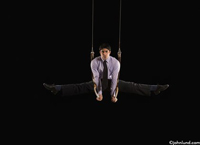 Picture of a businessman on the rings peforming a gymnastics routine in a business suit. This image is symbolic of the qualities needed to succeed in sport and in business. Athletes and businessmen both need specialized skills.