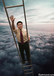 Photos of an Asian American business man in trouble as he climbs a ladder but reaches the challenge of missing rungs. The ladder is so tall that the man is well above the clouds.