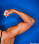 Lifestyle photo of a woman's arm as she flexes her biceps. Picture cropped tight on her arm.  Image on a blue background and demonstrates fitness and good health.