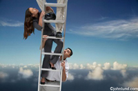 Business men and women climbing up the ladder of success or perhaps the corporate ladder.  They have climbed so high they are above the clouds.