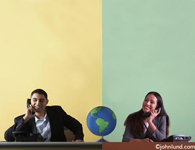 A businessman and a business woman sit on opposite sides of the world in a phone conversation. The man has a yellow background and the woman on the other side of the world has a green background.