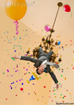 Picture of business man swinging from a chandelier during an office party gone crazy with balloons, party hats and confetti.