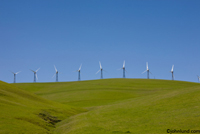 Picture of a line of wind mills on top of a green, grass covered hill side for clean renewable energy. Wind Power Harnessed.