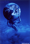 Pictures of a woman Atlas rising up through the clouds and holding the earth on her shoulders in a blue monochromatic stock photo.