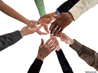 Eight hands representing men, women, African Americans, Hispanics, Asians and Caucasians Reach out towards each other. One arm is bare and the rest have sleeves. The image is set against a white background.