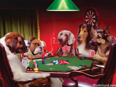 Photo of Dogs playing poker for imprinting on aprons
