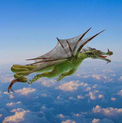 Picture of a flying dragon for imprinted T-shirts, mugs, golf shirts and other novelty gifts and merchandise