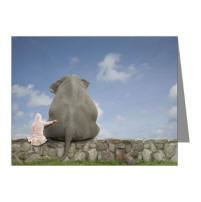 Friendship Note Cards  - A little girl and an elephant
