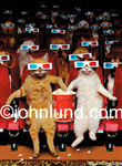 Funny animal picture of an audience of dogs and cats wearing 3D glasses sitting in a theater, watching a movie, and eating popcorn. PIcture of cats watching movies.