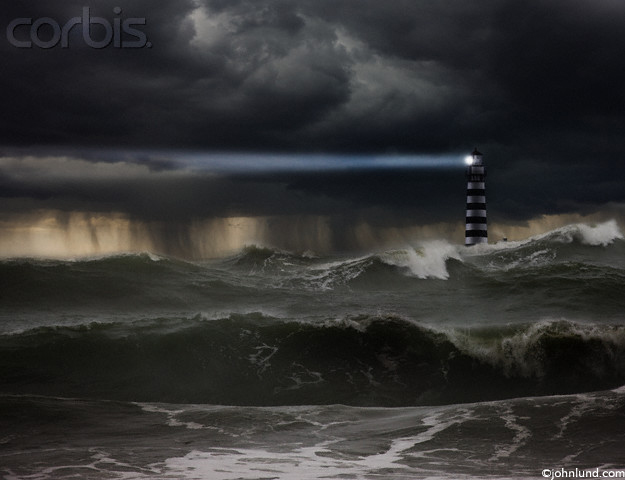 Pictures of a light house in a storm.