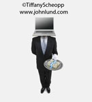 Picture of butler and money stacks. Stock image of a butler holding a tray of money with a white gloved hand and his head has been replaced with a laptop computer.