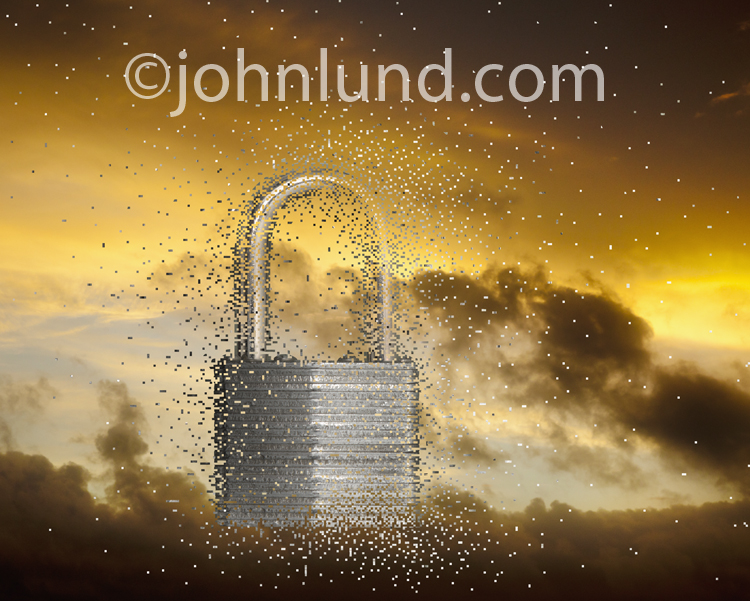 A padlock emerges from pixels against a dramatic sunrise cloudscape in a concept stock photo about cloud computing, firewalls and online security issues.