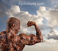 A body builder flexes his bicept and is covered in portraits of people in an image symbolizing the strength and power of crowd sourcing and social media and networking.