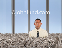 A man is up to his neck in binary numbers in a photo about database management challenges.