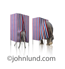 An elephant and a donkey are photographed in voting booths participating in an election and representing the republican and democratic parties.