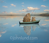 Two elephants fish in a row boat on a placid lake as a single Egret flies overhead in a humorous stock photo and greeting card image.