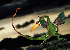 Picture of a fire breathing dragon, suitable for printing,  perched on the stone ruins of a castle and breathing out bursts of fire.