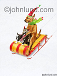 Funny picture of two dogs and a cat Christmas sledding in the snow on a toboggan wearing mufflers and hats-hilarious! Picture of dogs and cats on sleds.