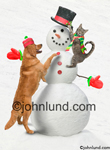Picture of a dog and cat building a snowman. The snowman wears a top hat and has a carrot nose. The cat is placing a top hat on the snow man's head and the dog is putting on the last button. Pictures of animals doing human things.