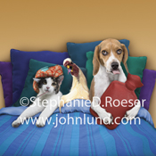 A cat, A chicken, and a Beagle dog all are in bed together and looking sad and ill in a funny picture for get well sentiments.