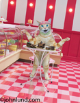 Funny photo of a cat sitting at a table in a bakery and cafe and enjoying an array of chocolate deserts.