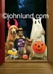 Funny animal Halloween picture of a group of pets in costume and trick or treating. Funny greeting card.