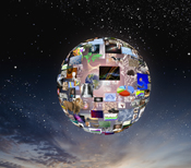 This globe of information represents future data management systems, data archiving, and search and retrieval software and technology.