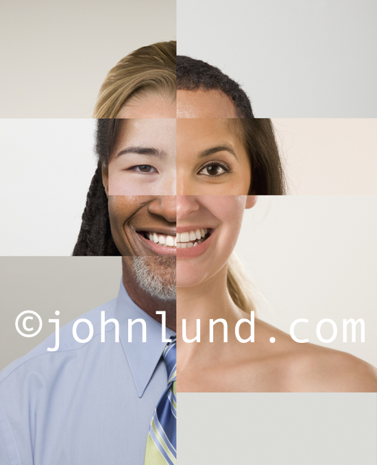 Multi-racial composite photo of a ethnically and gender diverse person.