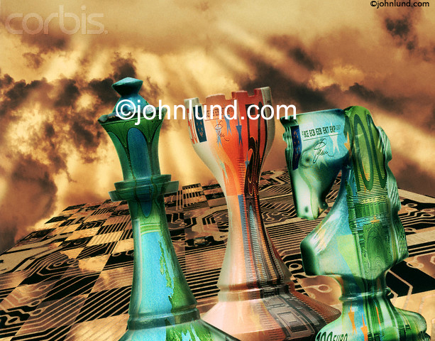 Pictures of a international chess game with chess pieces made from world currencies and the chess board has circuit board traces.