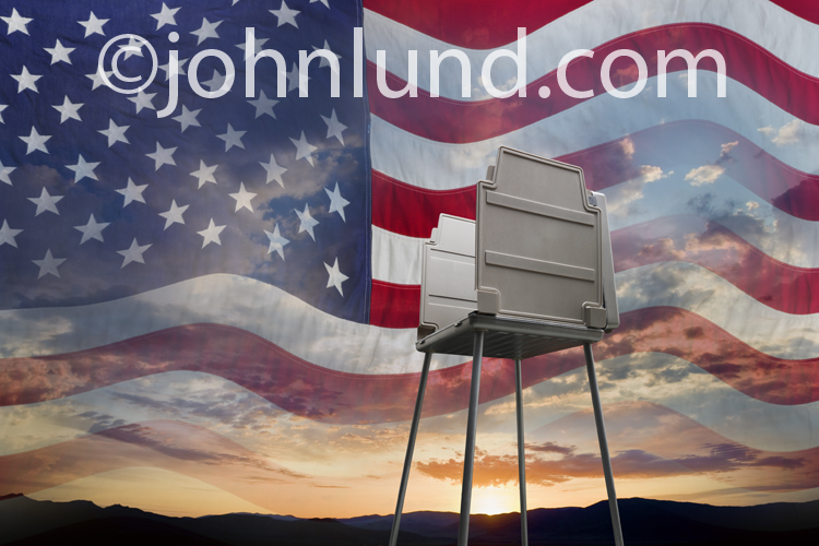 Getting Out The Vote and the patriotism of voting are but two of the concepts illustrated by this photo of a voting macine montaged with a sunrise and the American Flag.