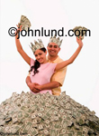An hispanic couple couple stand in a huge pile of cash wear crowns made of dollars in this concept stock picture. Money pix.Show me the money. Picture of hitting the jackpot.  Photo of couple with lots of money. King And Queen Of Cash;
