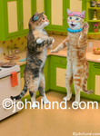 Funny animal picture of two cats gossiping while standing in a kitchen and wearing jewelry. Created For Greeting Card use.