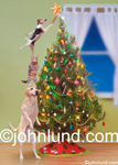 Pet Dogs and Cats (and a mouse) Trim a Christmas Tree during the holidaze! Funny animal picture of Decorating the halls at xmas.