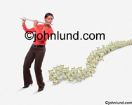 Woman plays the pied piper as she leads an undulating line of money stretching into the distance behind her. The money is following her. She is wearing an orange blouse.