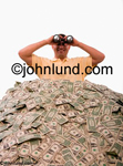 A man stands in a huge pile of dollars and looks out through binoculars. He is looking in the direction of the camera. Mountain of cash photo.  Mucho Dinero. Pictures of money. Photo of big pile of money.