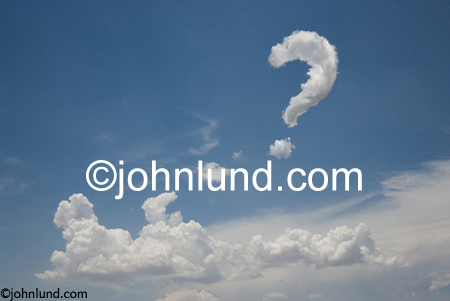 Clouds form a question mark in the sky; one of the most powerful tools to advance your career is asking yourself questions.