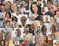 Over seventy individual portraits of adult seniors are combine in this montage to create a visual about mature adults.